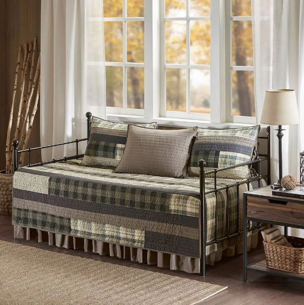 Woolrich Daybed 5 Piece Day Bed Cover Set in Tan - Olliix WR13-2122
