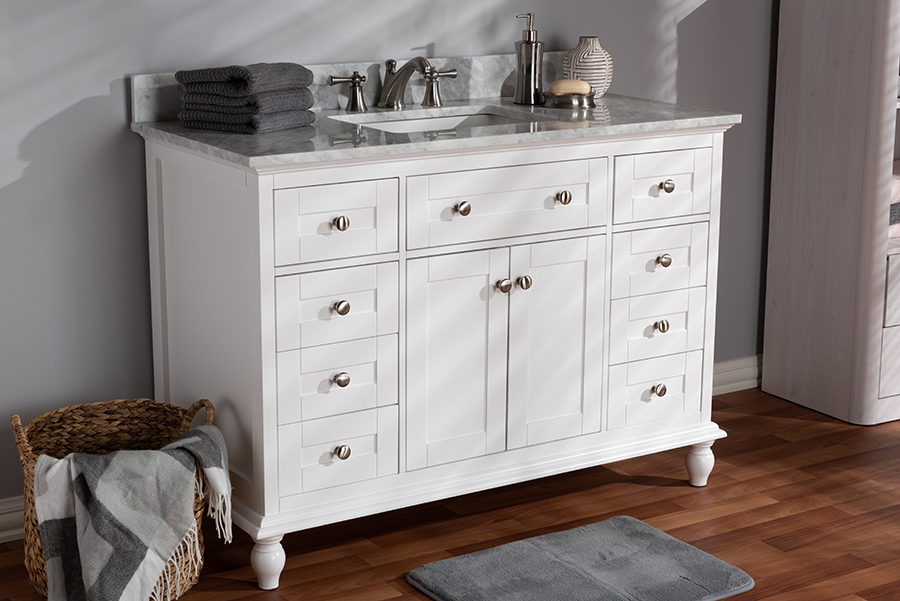 Wholesale Interiors Transitional White Finished Wood Marble Single Sink