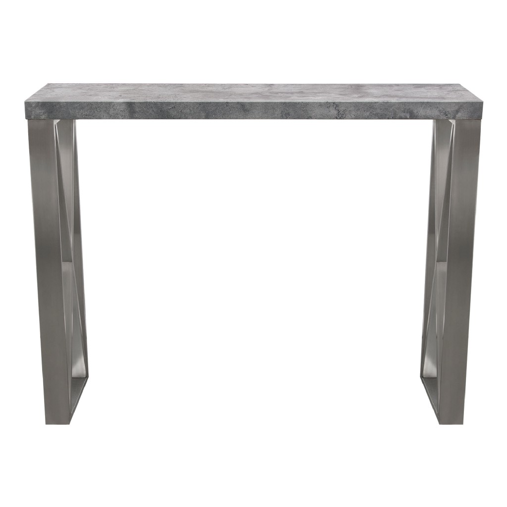 Carrera Bar Height Table in 3D Faux Concrete Finish w/ Brushed Stainless Steel Legs - Diamond Sofa CARRERABTMA2