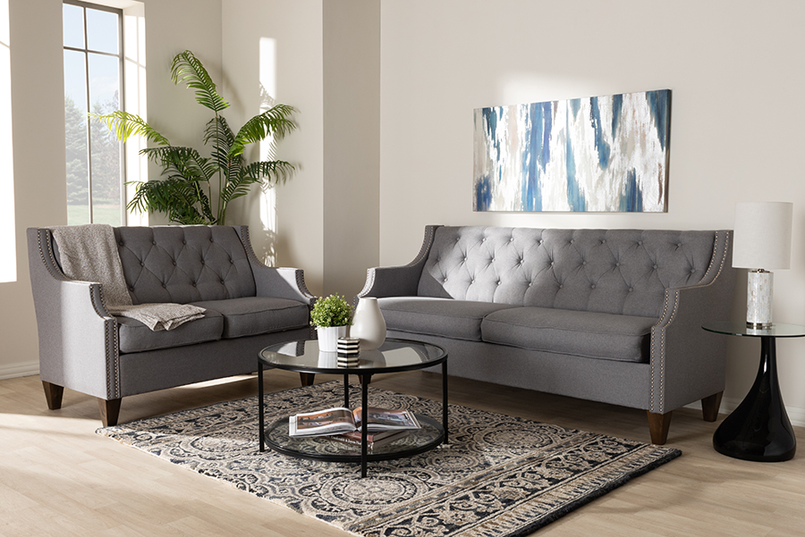 Wholesale Interiors Celine Modern Contemporary Grey Fabric Upholstered