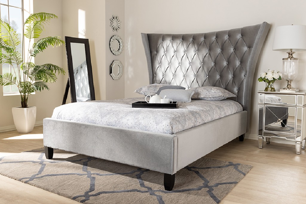 Wholesale Interiors Upholstered Button Tufted King Platform Bed Tall Headboard