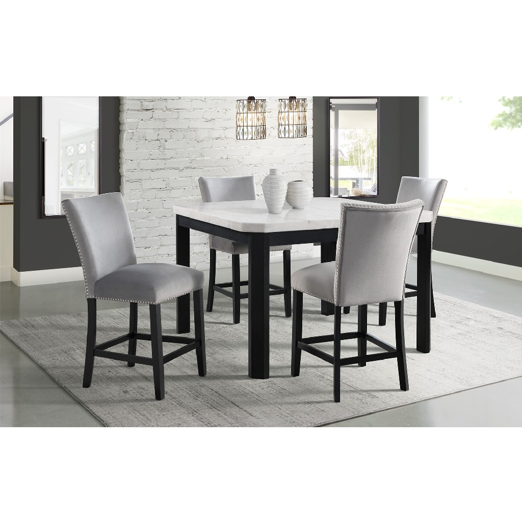 Picket House Celine White Marble Counter Height Dining Set Table