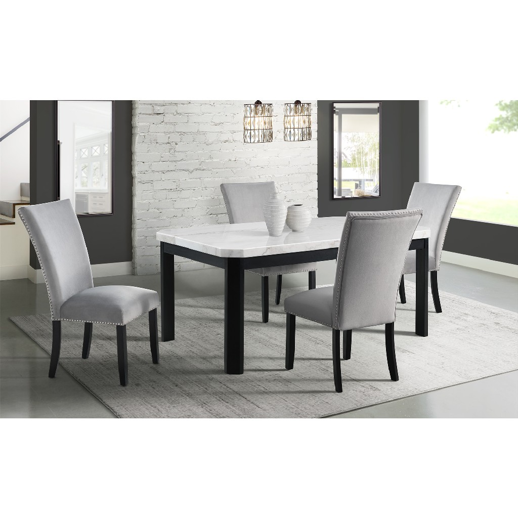 Picket House Celine White Marble Dining Set Table Four Gray Velvet Chairs