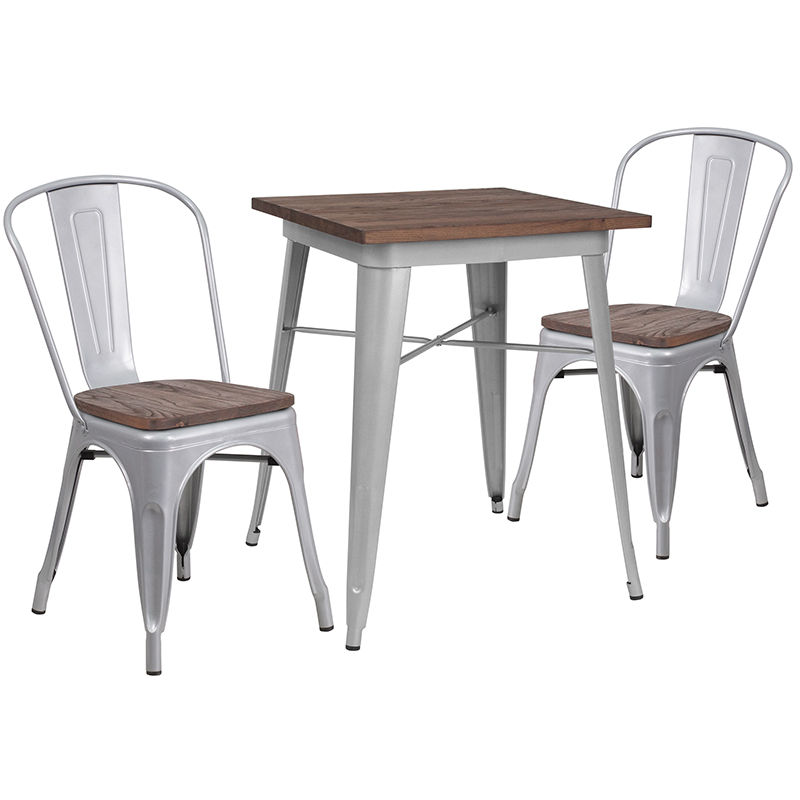 "23.5"" Square Silver Metal Table Set with Wood Top and 2 Stack Chairs - Flash Furniture CH-WD-TBCH-1-GG"