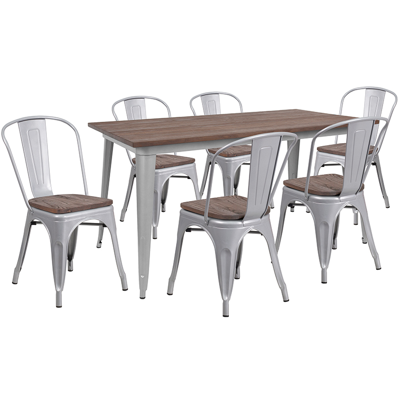Flash Silver Metal Table Set Wood Stack Chairs