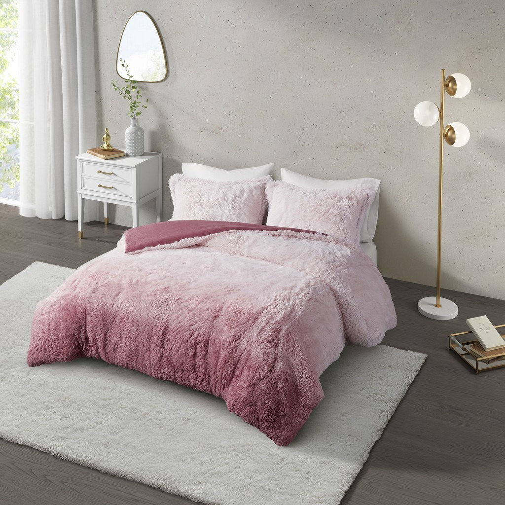 Cleo 100% Polyester Cleo Ombre Shaggy Fur King Comforter Set - CosmoLiving CL10-0014