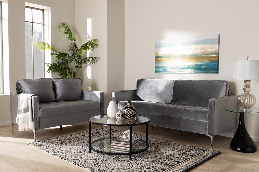 Wholesale Interiors Clara Modern Contemporary Grey Velvet Fabric Upholstered