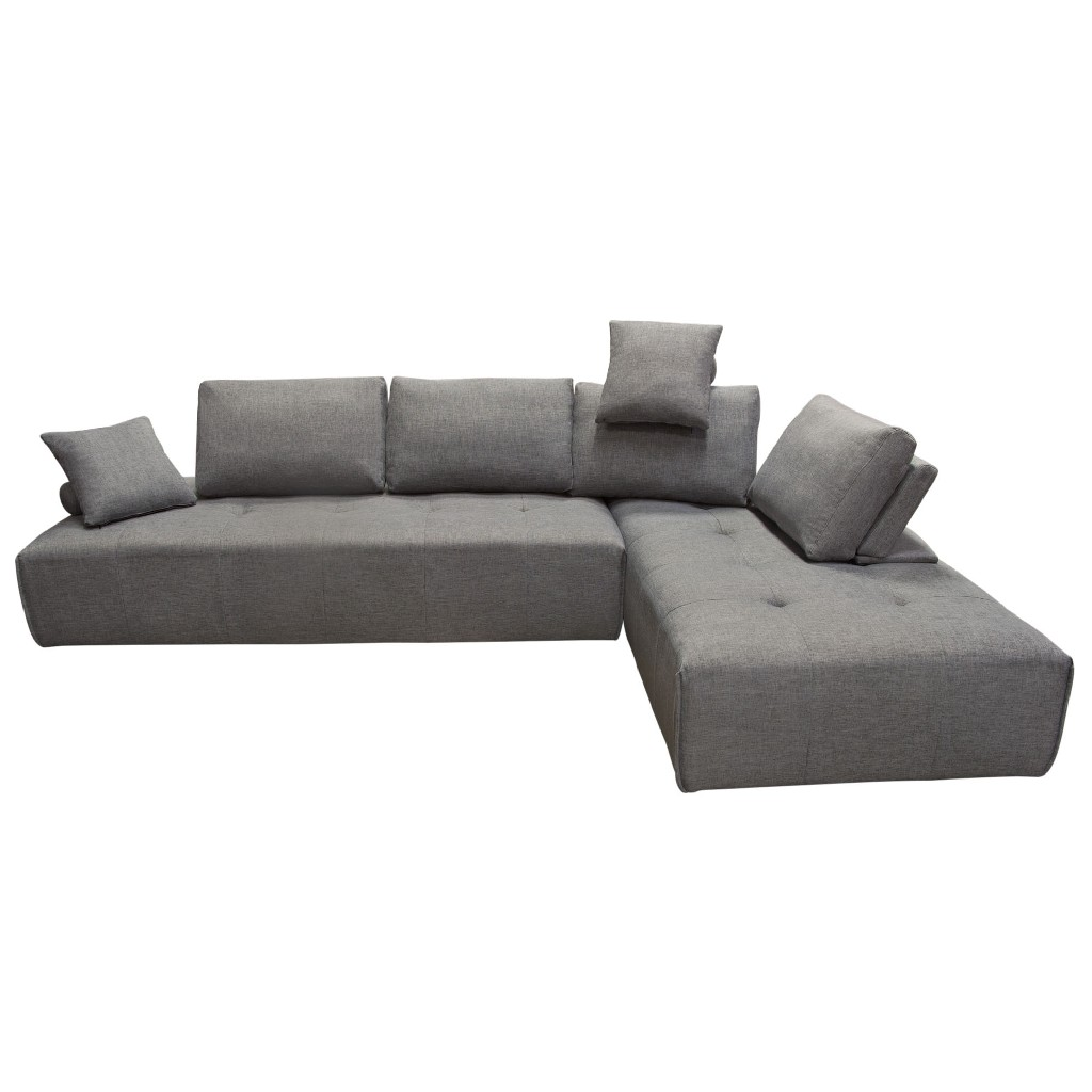 Cloud 2PC Lounge Seating Platforms w/ Moveable Backrest Supports in Space Grey Fabric - Diamond Sofa CLOUDLGBGR2PC