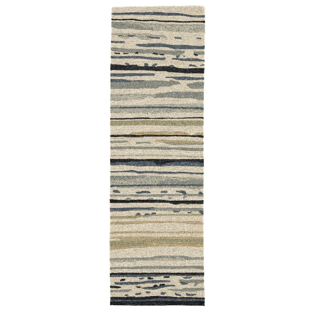 Lauren Wan by Jaipur Living Sketchy Lines Indoor/ Outdoor Abstract Silver/ Blue Runner Rug (2