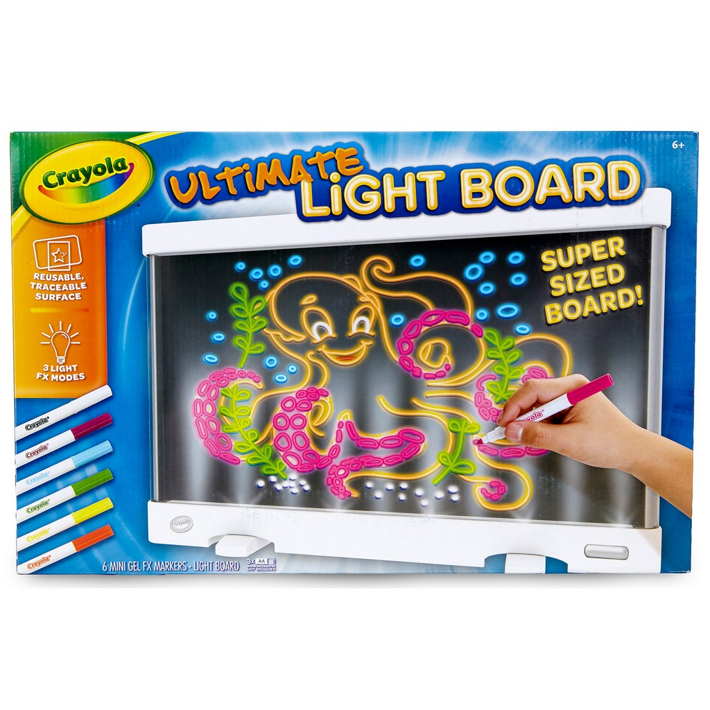 Crayola Ultimate Light Board Reusable traceable surface 6 markers - CO74-7245