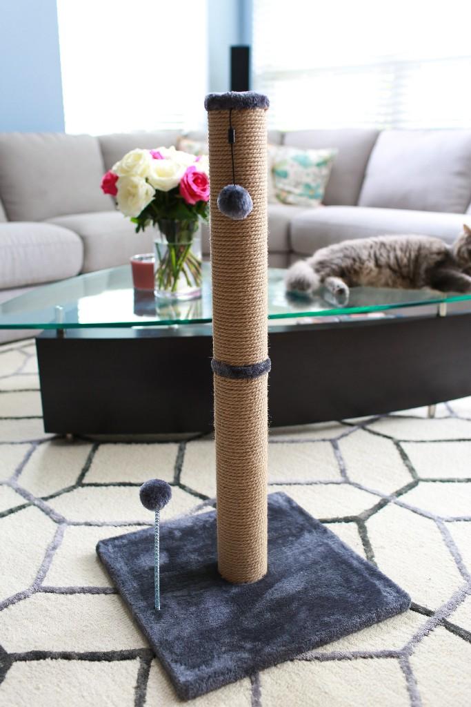 """Cat Craft 30"""" Jute Scratching Post (Grey Fur 16x16 Base) - COM30JUCHFU"""
