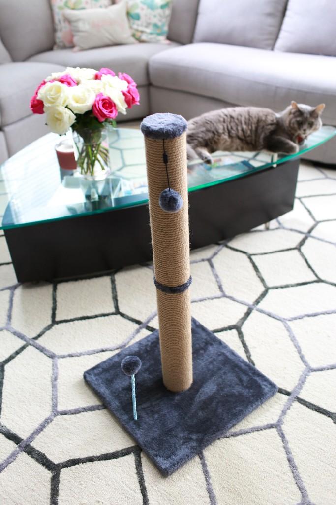 """Cat Craft 30"""" Jute Scratching Post (Grey Fleece 16x16 Base) - COM30JUGRFL"""