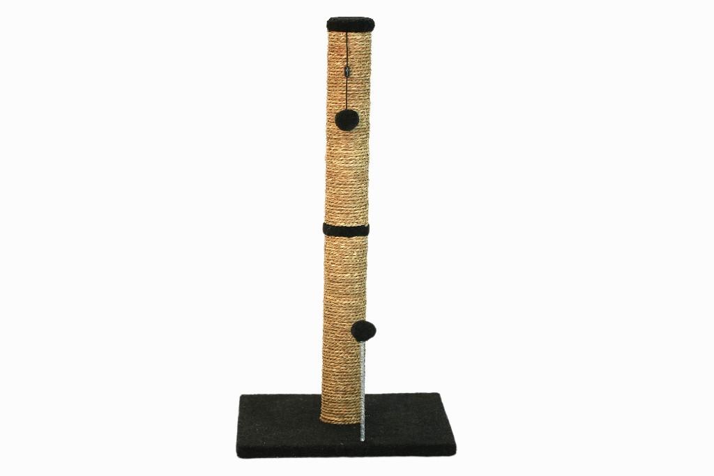 """Cat Craft 30"""" Sea Grass Scratching Post (Charcoal Fleece 16x16 Base) - COM30SGCHFL"""