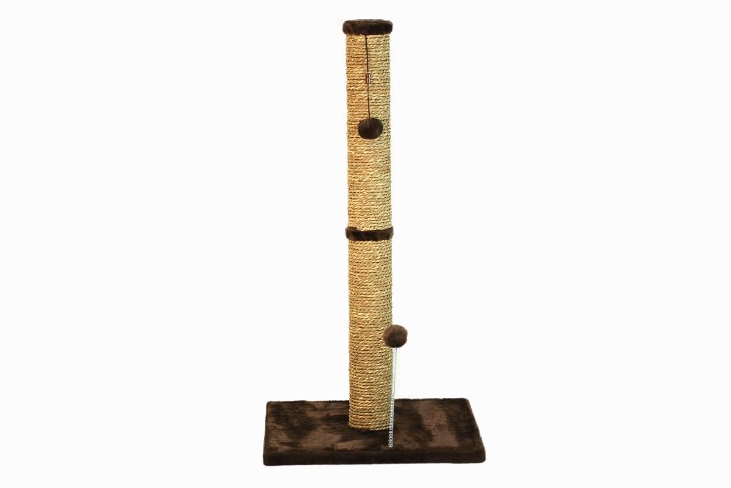 """Cat Craft 30"""" Sea Grass Scratching Post (Dark Chocolate Fur 16x16 Base) - COM30SGDCFU"""