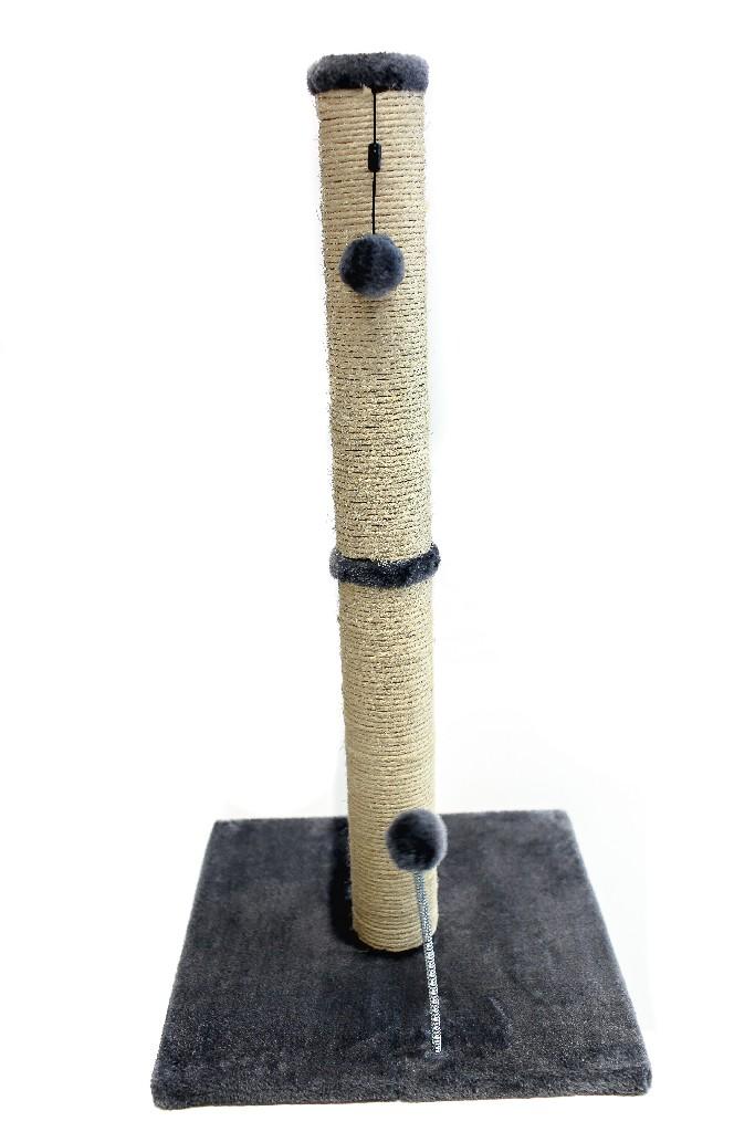 "Cat Craft 30"" Sisal Scratching Post (Grey Fur 16x16 Base) - COM30SICHFU"
