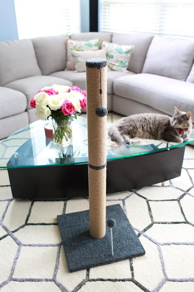 """Cat Craft 36"""" Jute Scratching Post (Grey Fleece 16x16 Base) - COM36JUGRFL"""