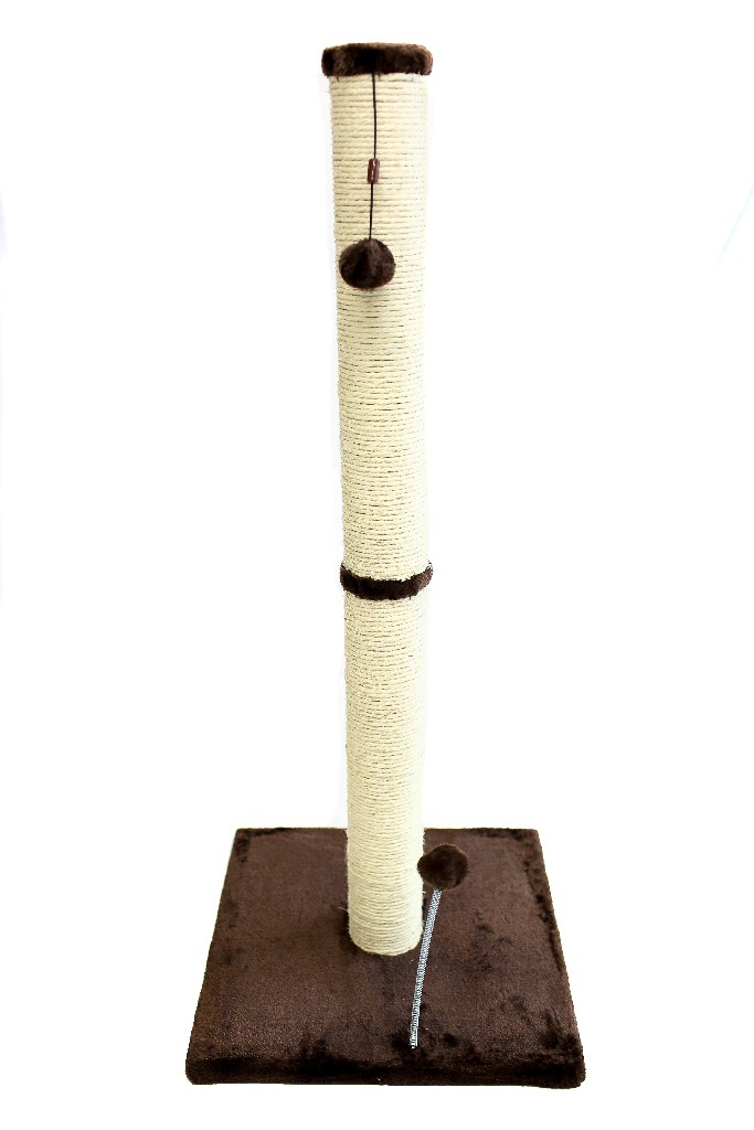 "Cat Craft 36"" Sisal Scratching Post (Dark Chocolate Fur 16x16 Base) - COM36SIDCFU"