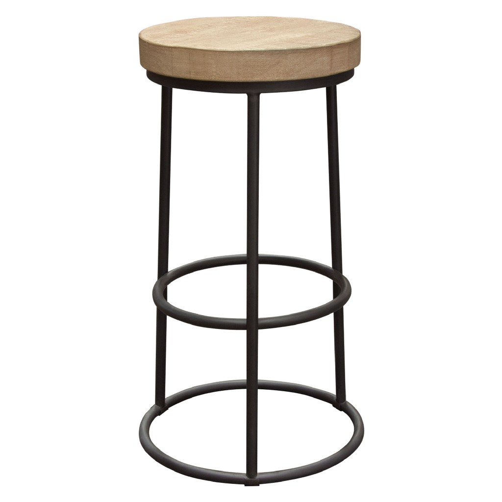 Cooper Round Backless Bar Height Stool w/ Solid Pine Seat and Metal Hoop Base - Diamond Sofa COOPERSTPI
