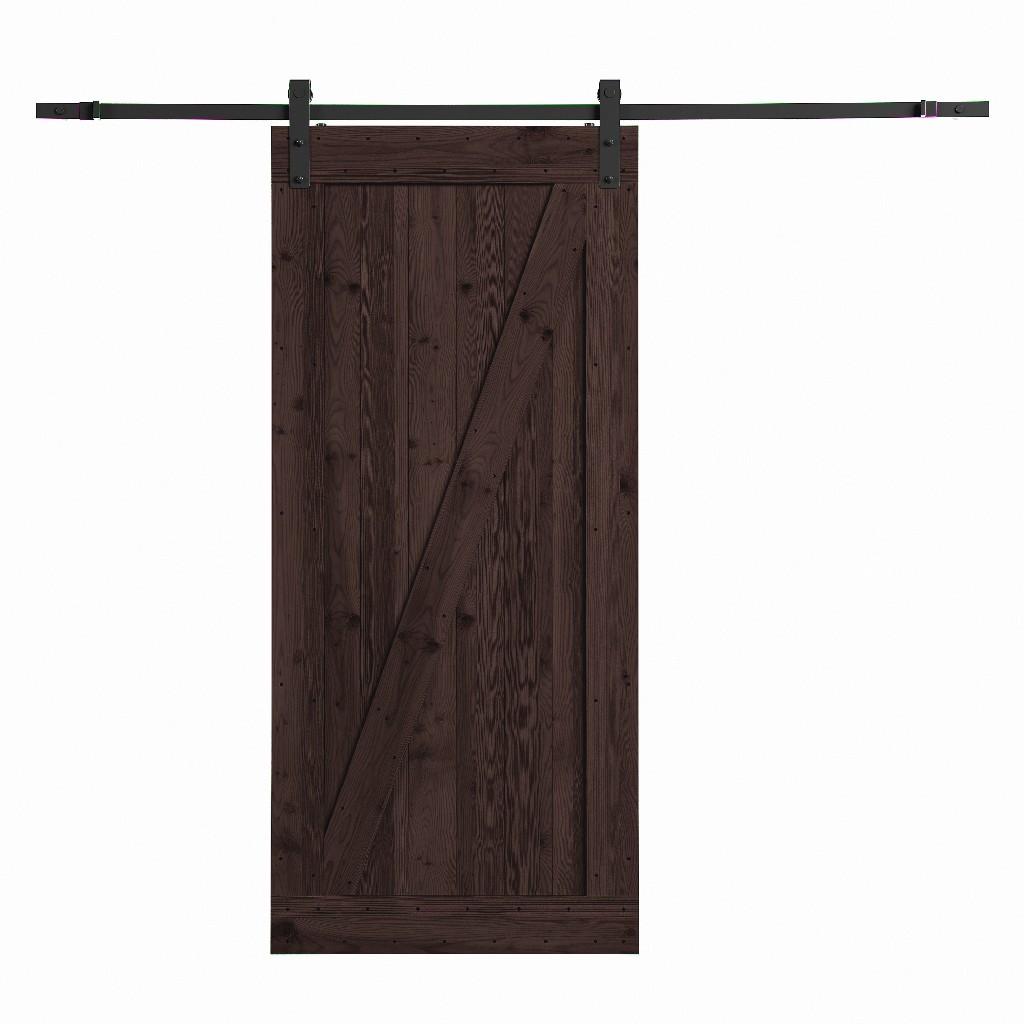 Farm Style Sliding Door, Distressed Smoke Finish - Northbeam COV0022214210