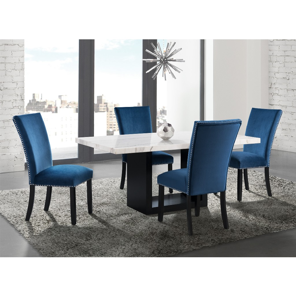 Picket House White Marble Dining Set Table Four Blue Chairs