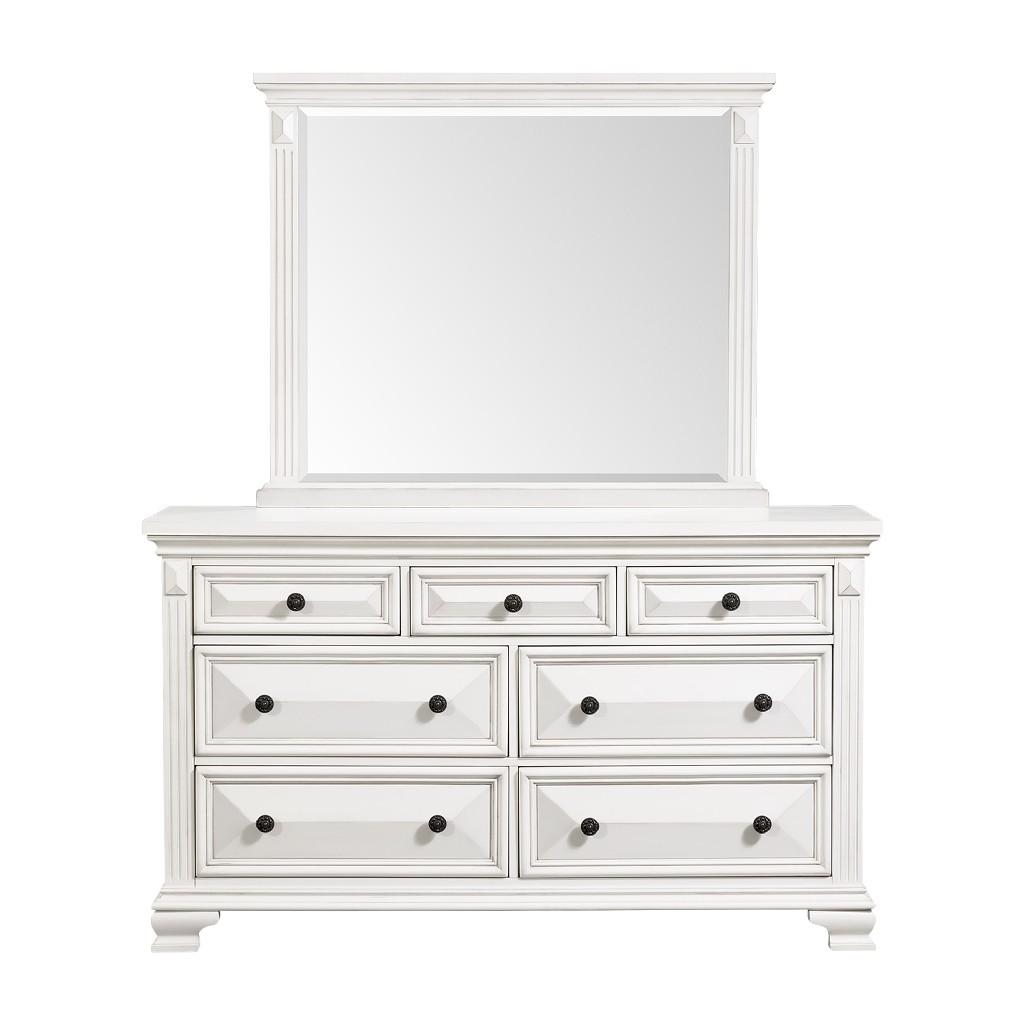 Picket House Trent Drawer Dresser Mirror Set White