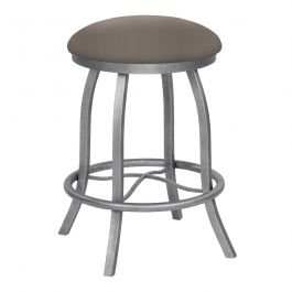 Hannah 30 Bar Height Metal Backless Swivel Barstool In Tan Dillon Balsa Faux Leather Silver Bisque Finish Made In The U S A Taylor Gray Home B503h30bluedba