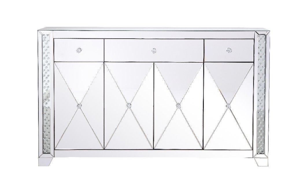 Elegant Decor 60 in Clear Crystal Mirrored credenza