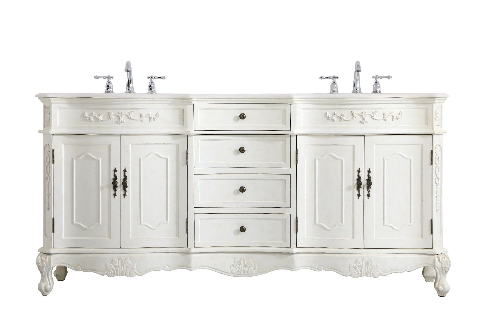 72 Inch Double Bathroom Vanity In Antique White Elegant Lighting Vf10172daw