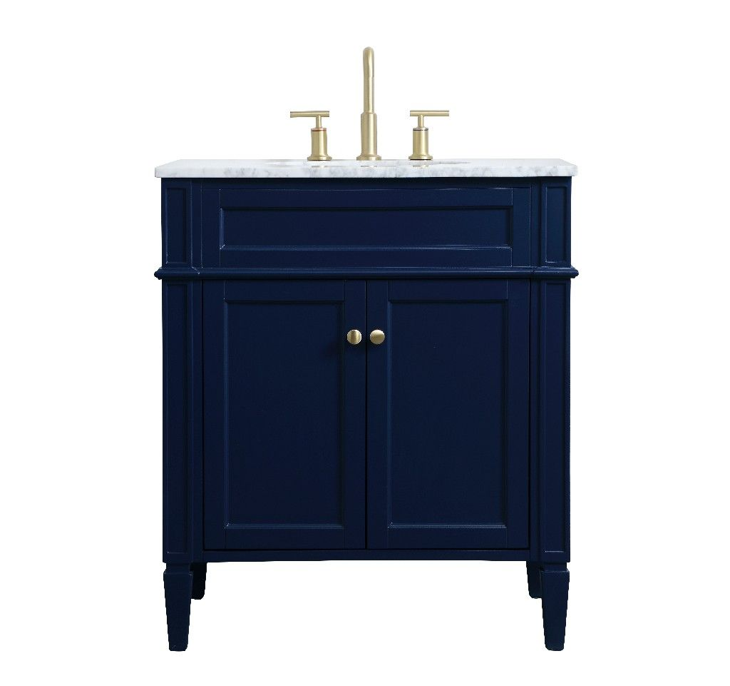 30 Inch Single Bathroom Vanity In Blue Elegant Lighting Vf12530bl