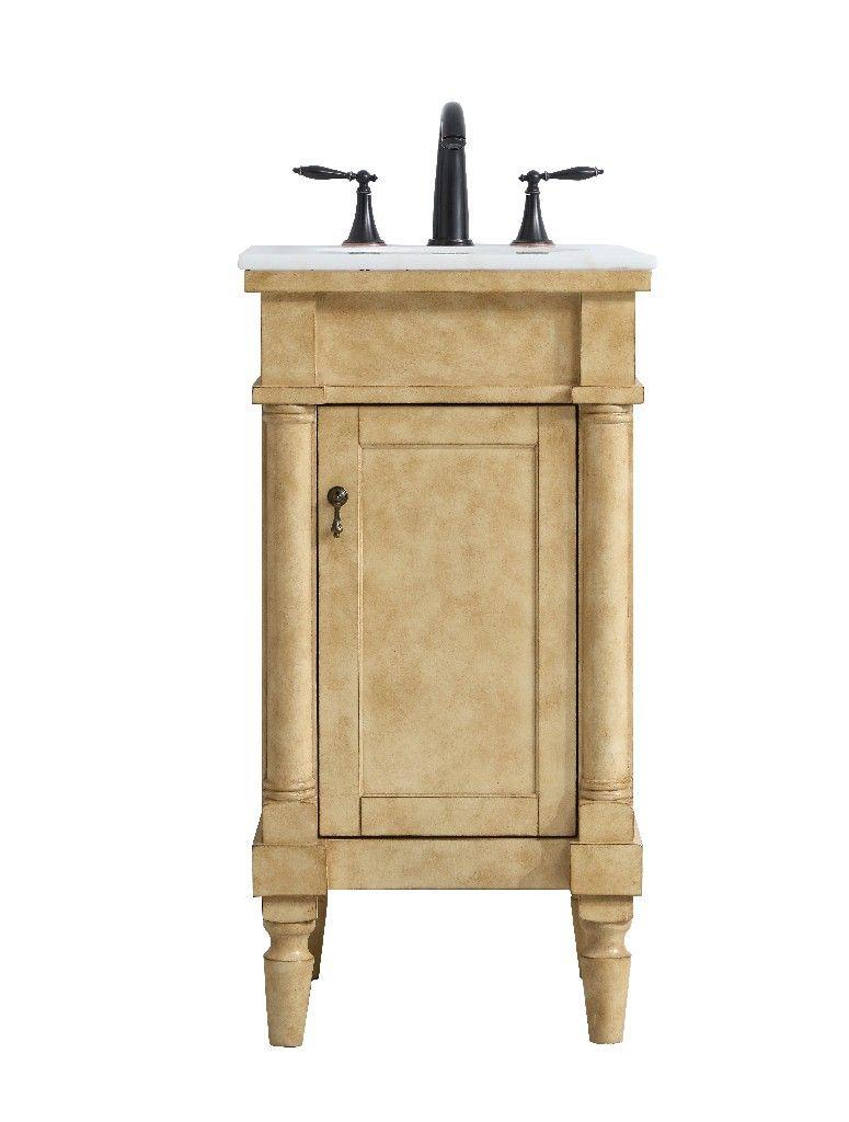 18 Inch Single Bathroom Vanity In Antique Beige Elegant Lighting Vf13018ab