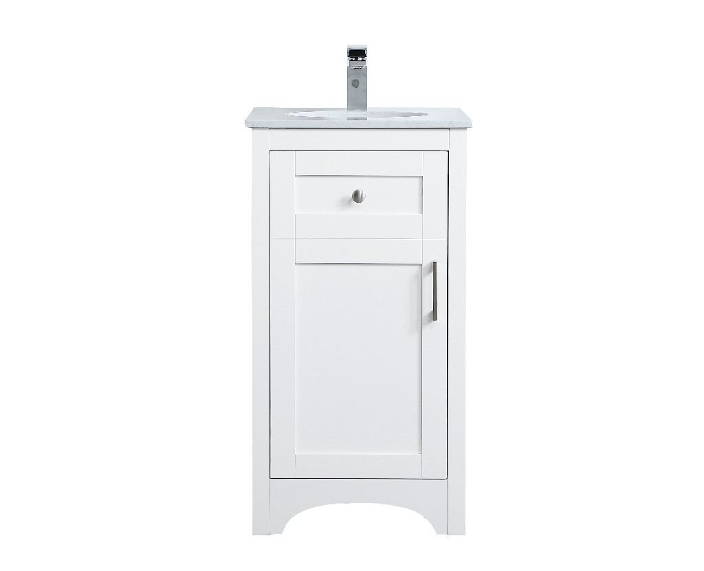 18 Inch Single Bathroom Vanity In White