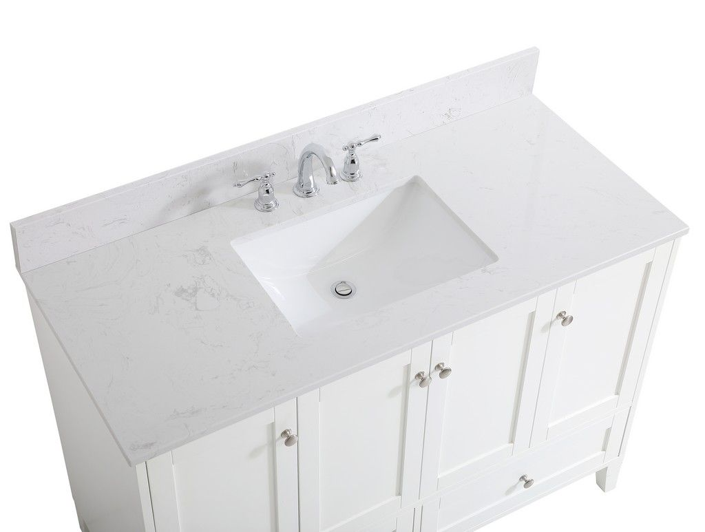 48 Inch Single Bathroom Vanity In White With Backsplash Elegant Lighting Vf18048wh Bs