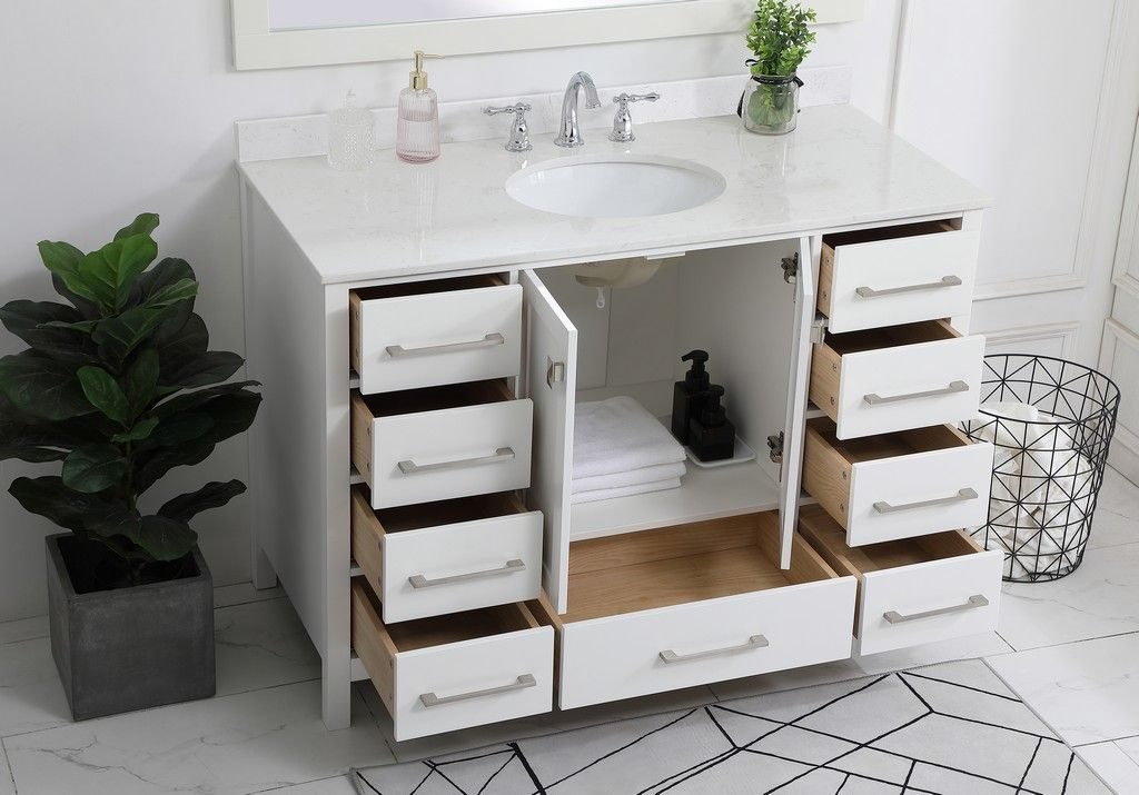 48 Inch Single Bathroom Vanity In White With Backsplash Elegant Lighting Vf18848wh Bs