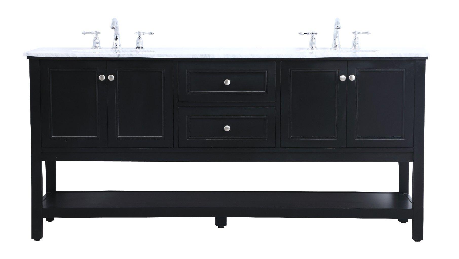 72 In Double Sink Bathroom Vanity Set In Black Elegant Lighting Vf27072bk