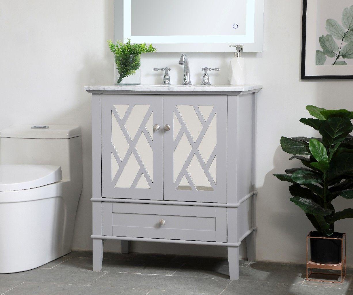 30 Inch Single Bathroom Vanity Set In Grey Elegant Lighting Vf30230gr