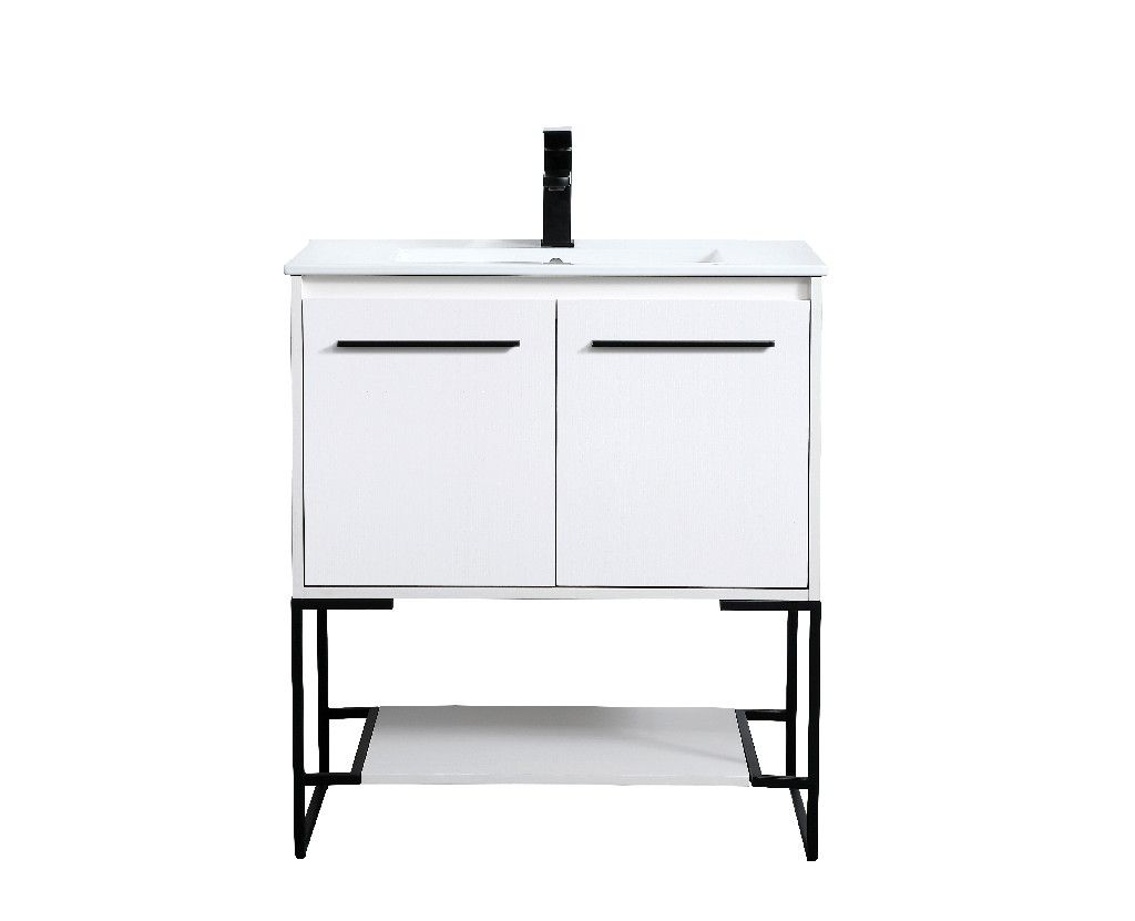 30 Inch Single Bathroom Vanity In White Elegant Lighting Vf42030wh