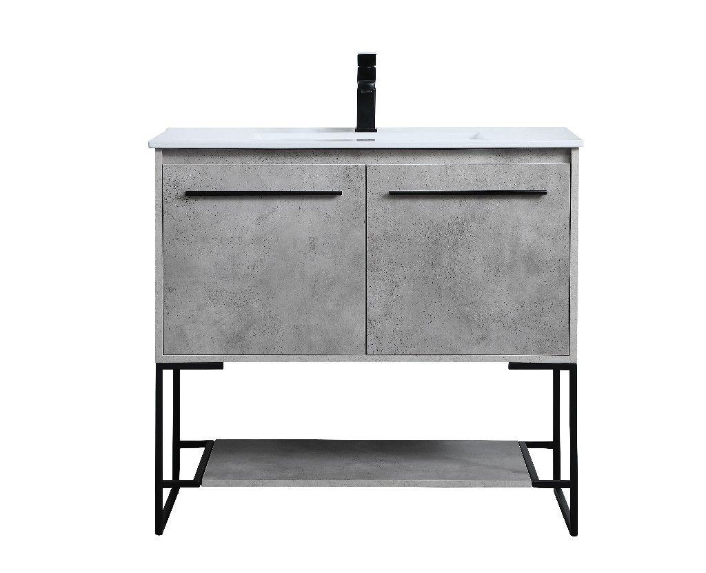 36 Inch Single Bathroom Vanity In Concrete Grey Elegant Lighting Vf42036cg