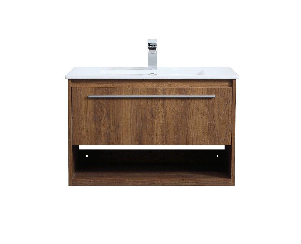 30 Inch Single Bathroom Floating Vanity In Walnut Brown Elegant Lighting Vf43030wb