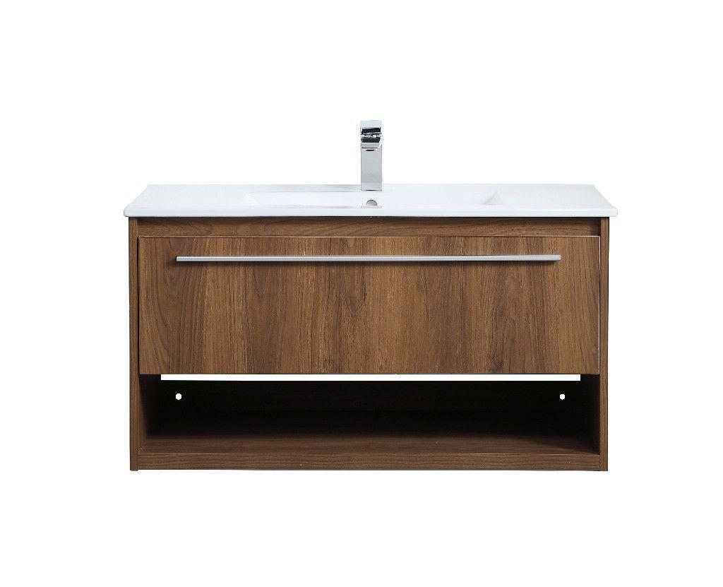 36 Inch Single Bathroom Floating Vanity In Walnut Brown Elegant Lighting Vf43036wb