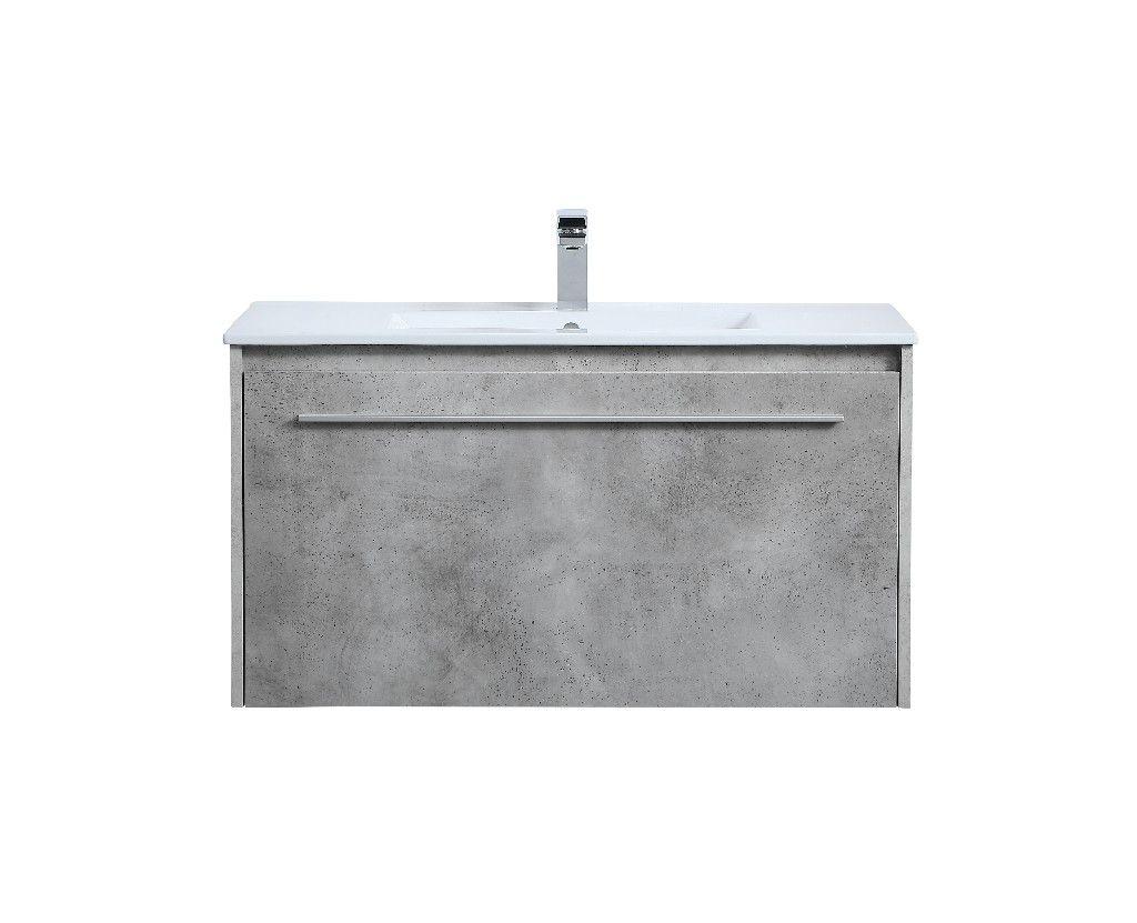 36 Inch Single Bathroom Floating Vanity In Concrete Grey Elegant Lighting Vf45036cg