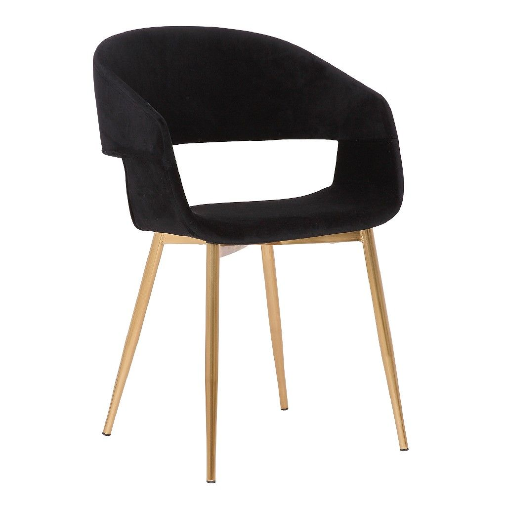 Picture of: Jocelyn Mid Century Black Dining Accent Chair W Gold Metal Legs Armen Living Lcjcchgldbl