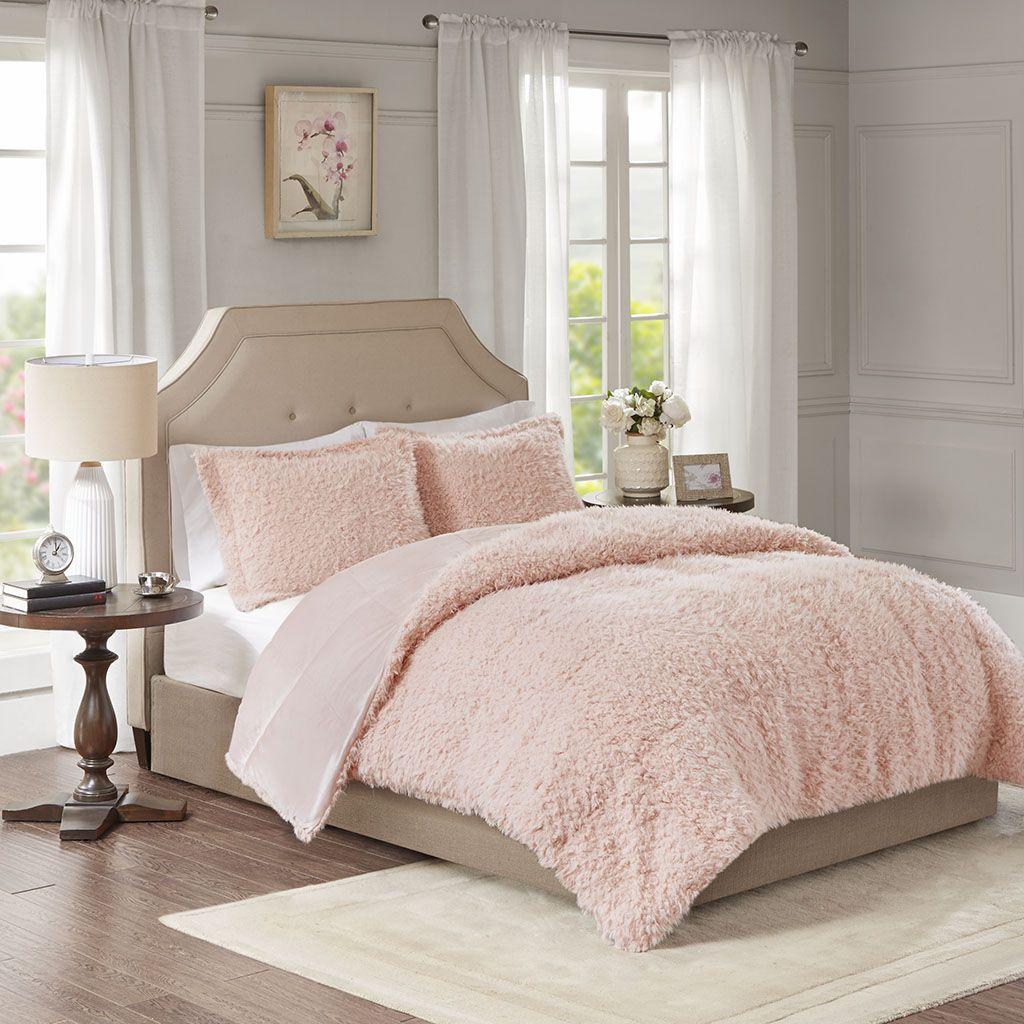 Nova Full Queen Blush Faux Mohair Reverse Faux Mink Comforter Set