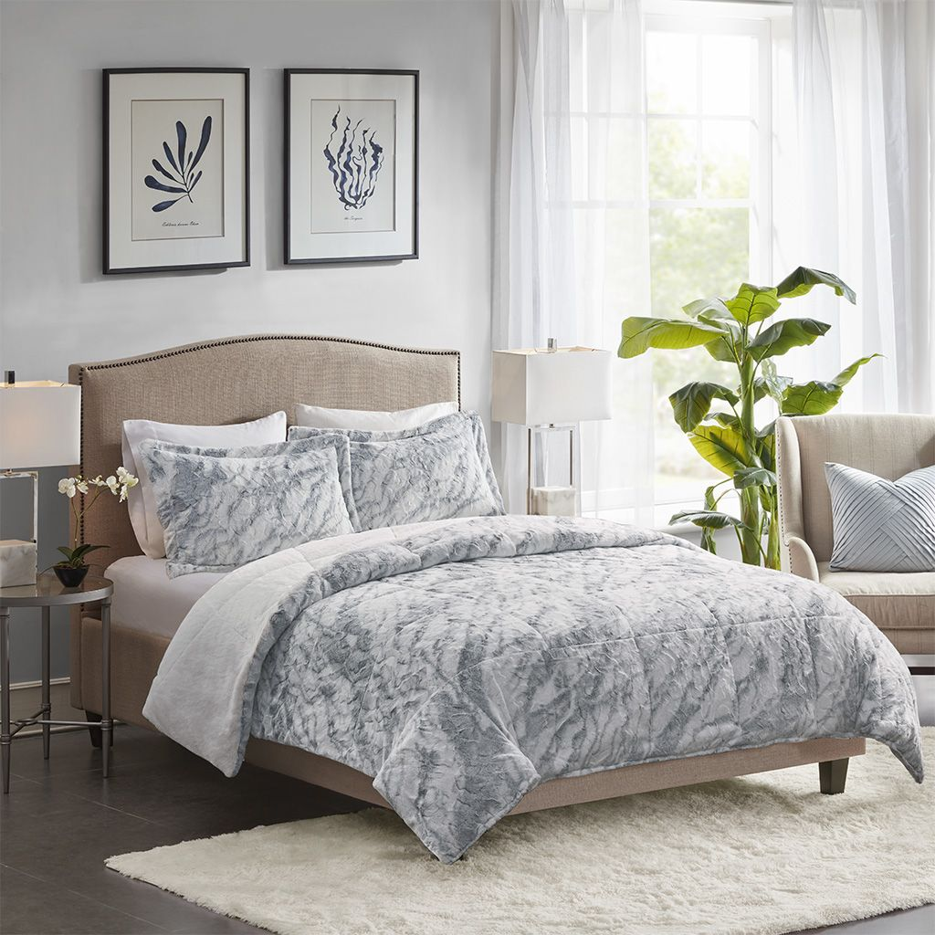 Madison Park Queen 100 Polyester Marble Fur Comforter Set In Grey Blue Olliix Mp10 6570