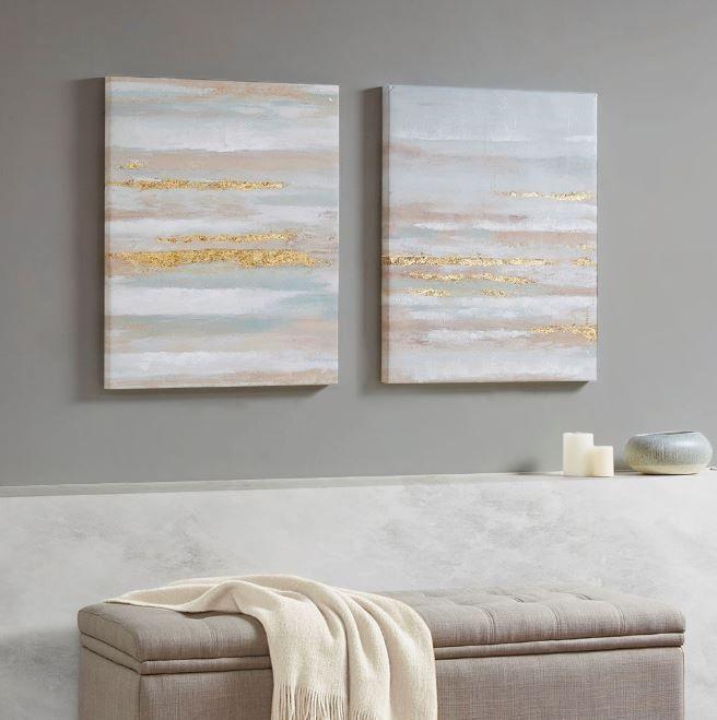 Seafoam Aurora 2 Piece Canvas Art In Heavy Textured Gold Foil Madison Park Mp95c 0194