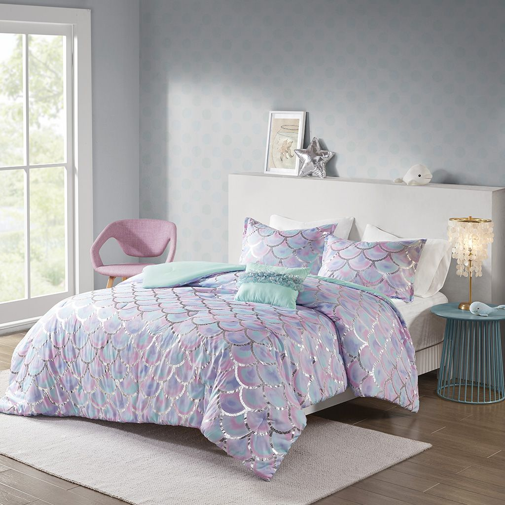Mi Zone Twin Twin Xl Metallic Printed Reversible Comforter Set In Aqua Purple Olliix Mz10 0591