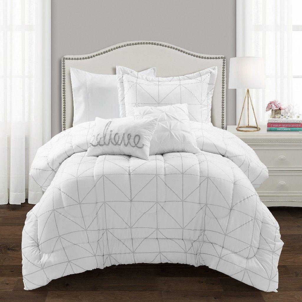 Trio Geo Metallic Print Comforter White Silver 4pc Set Twin Xl