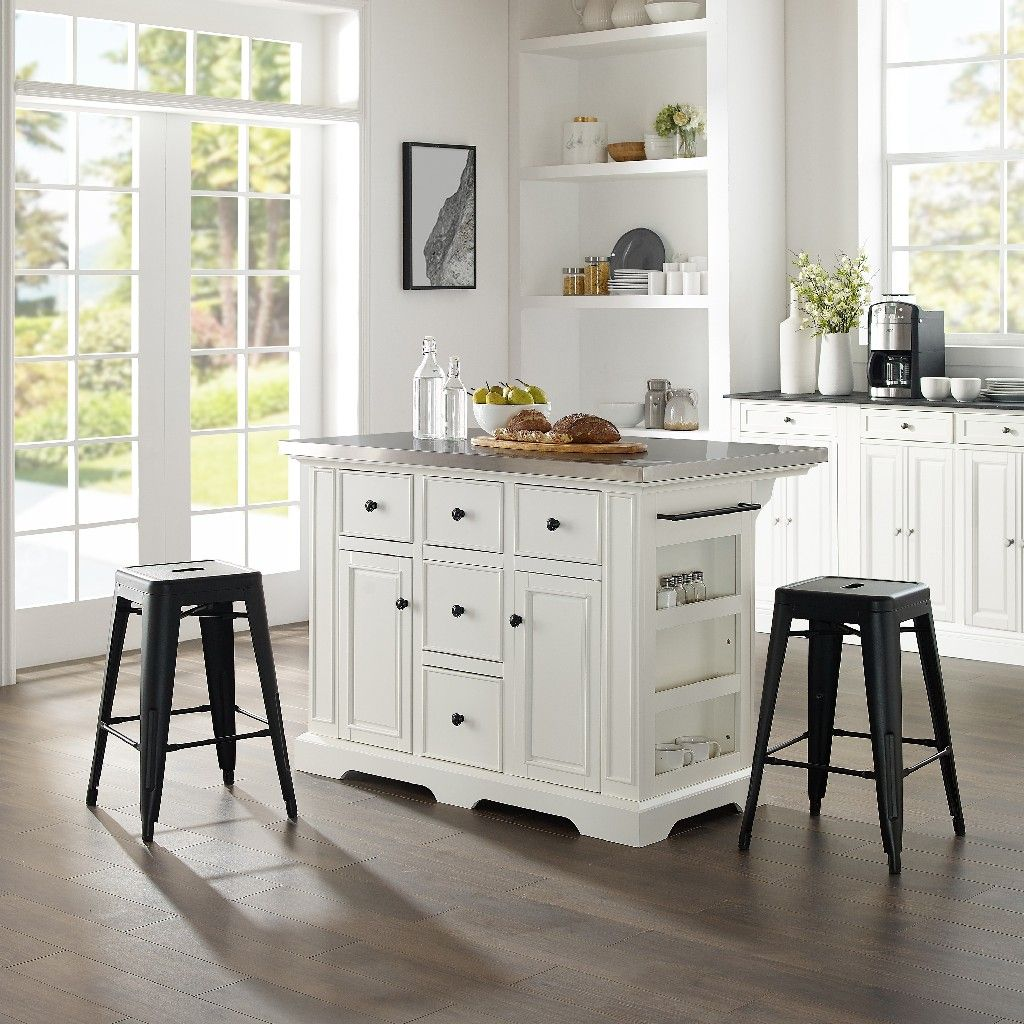 Image of: Julia Island W Amelia Backless Stools Kitchen Island 2 Counter Height Bar Stools In White Crosley Kf30061wh Mb