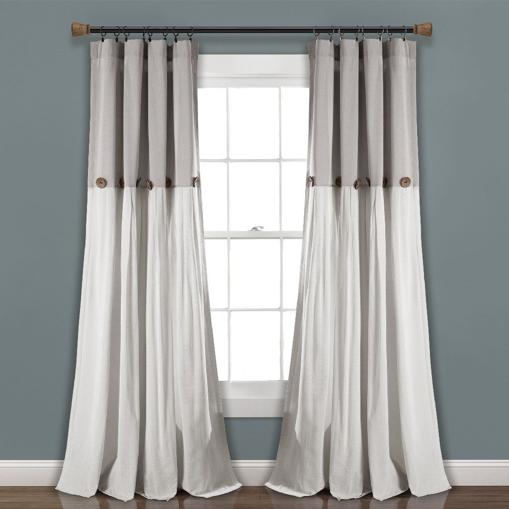 Linen Button Window Curtain Panels Single Gray Linen 40x95 Lush Decor 16t004042