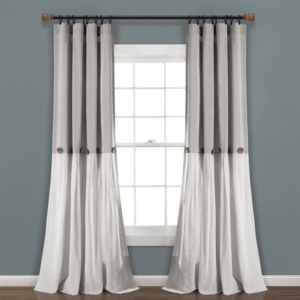 Linen Button Window Curtain Panels Single Gray White 40x108 Lush Decor 16t005608