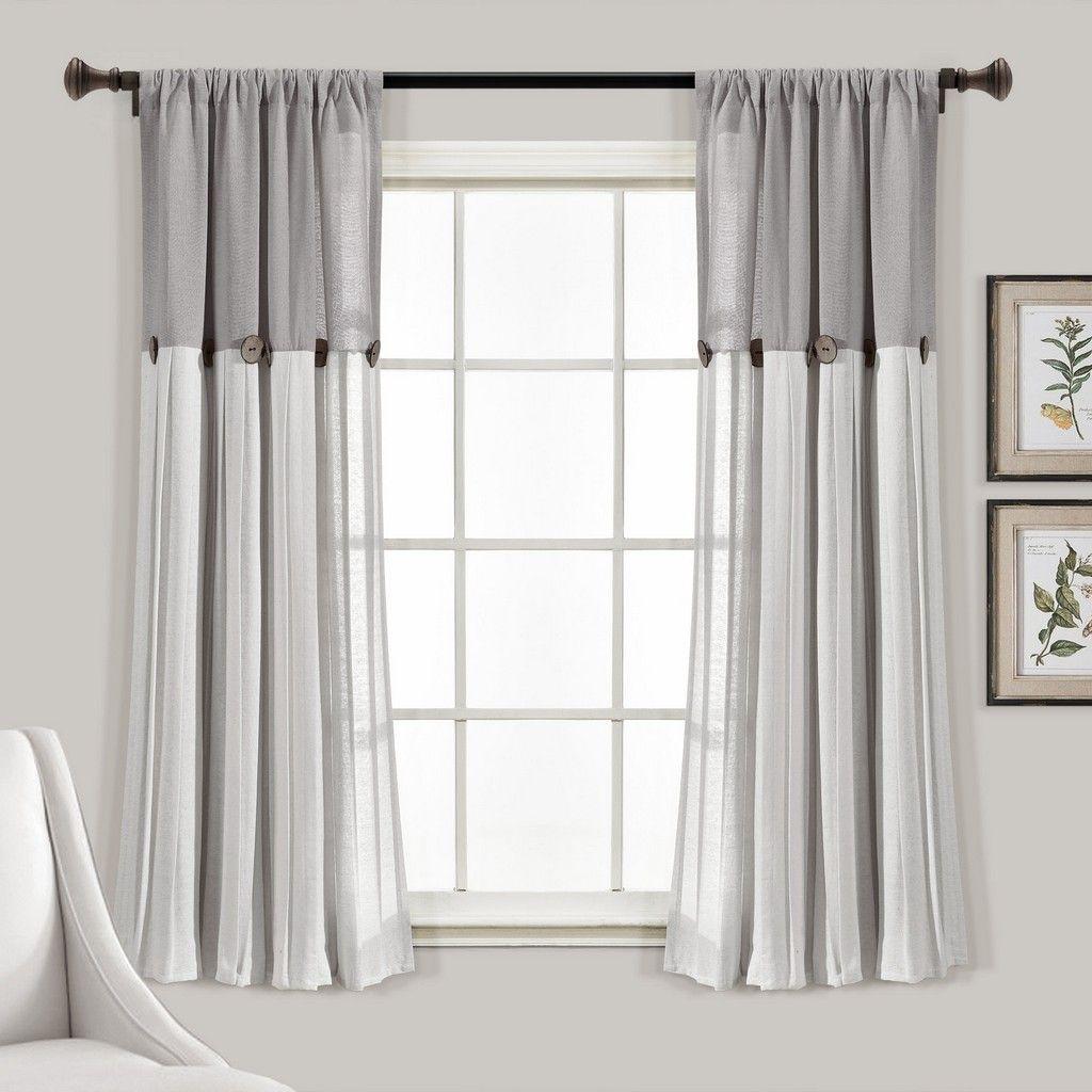 Linen Button Window Curtain Panels Single Gray White 40x63 Lush Decor 16t006201